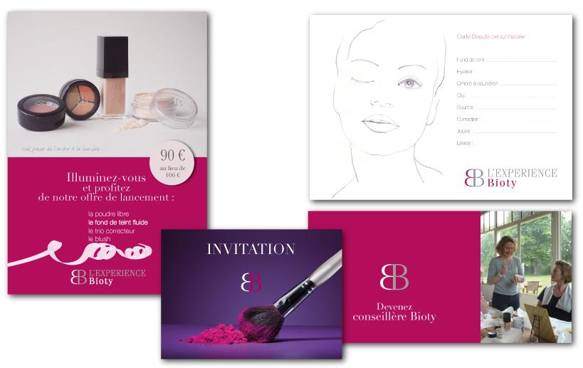 l'experience biota : flyer, fiche beauté, invitation