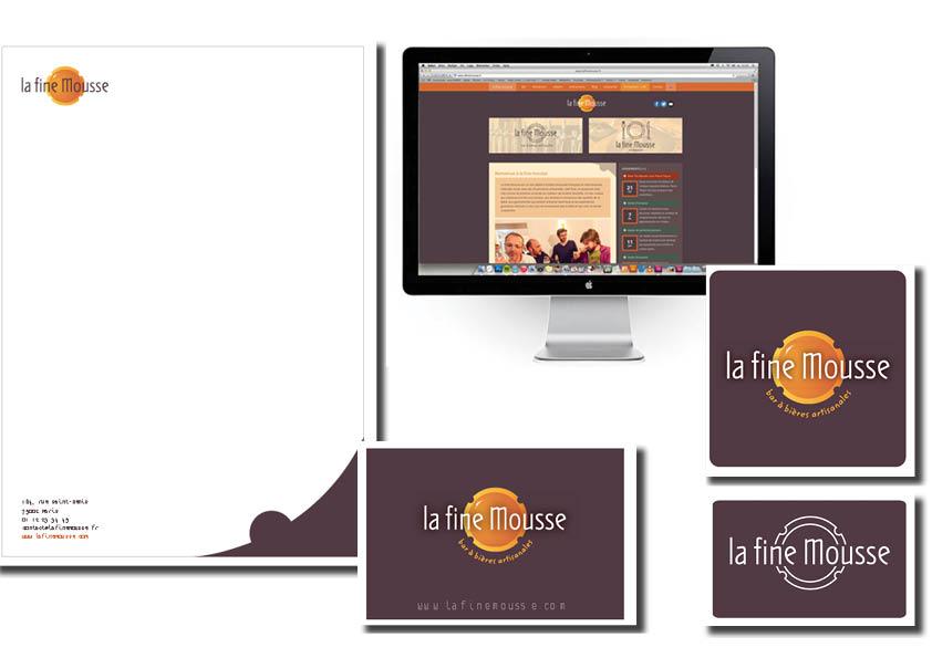 conception logo pour la société la fine mousse, carte de visite, charte graphique