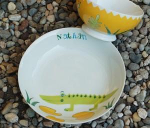 assiette bol nathan-crocodile-peinture sur porcelaine