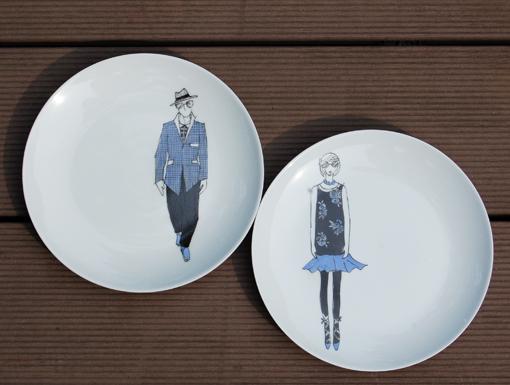 assiettes-dessert-mode bleu peinture sur porcelaine