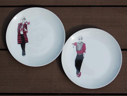 assiettes-dessert-mode rose peinture sur porcelaine