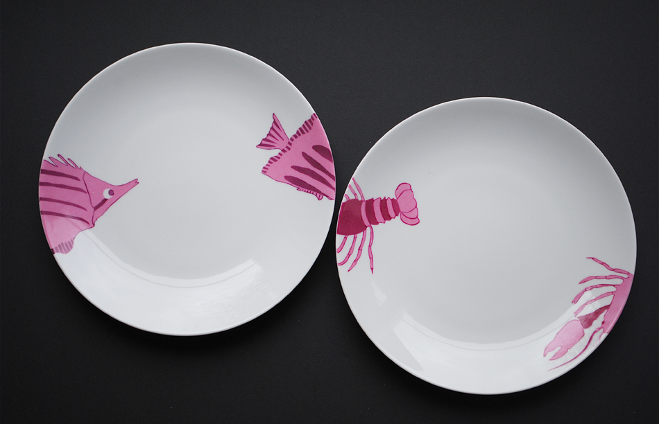 assiettes-langouste poisson peinture sur porcelaine