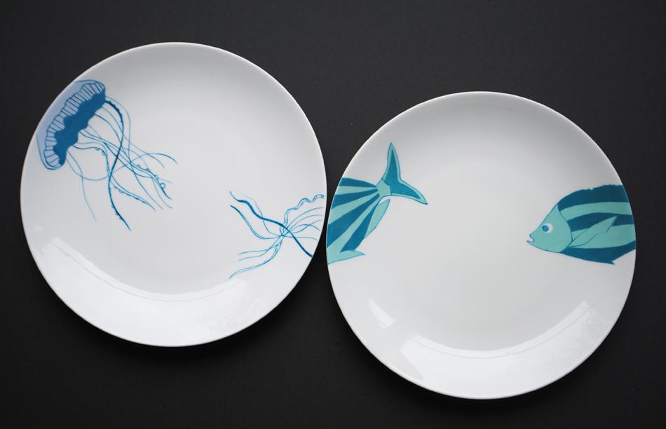 assiettes-meduse bar peinture sur porcelaine