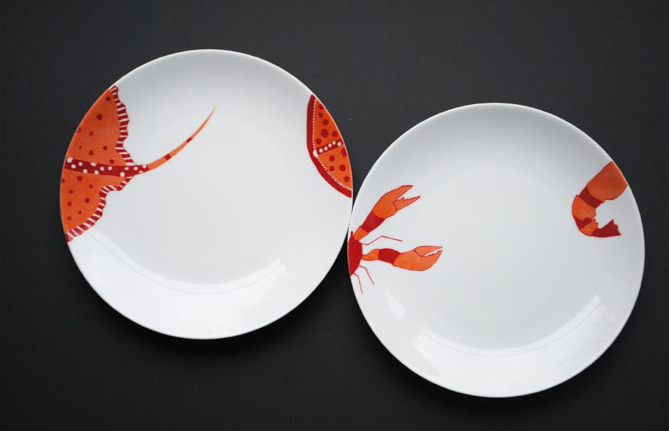 assiettes raie crevette peinture sur porcelaine