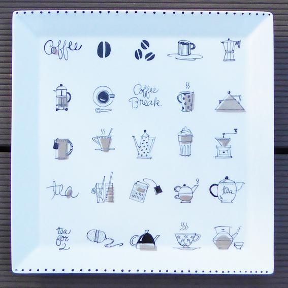 plat carré cafe peinture sur porcelaine