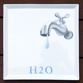 plat carré robinet h2o peinture sur porcelaine