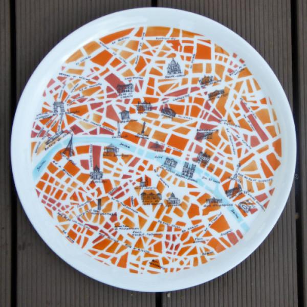 plat à tarte rond motif plan de paris
