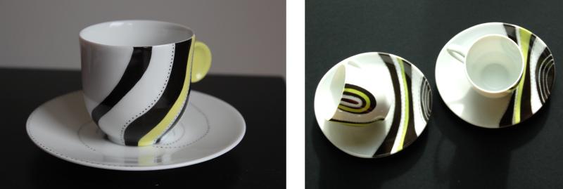 tasses a cafe noir etjaune-peinture sur porcelaine