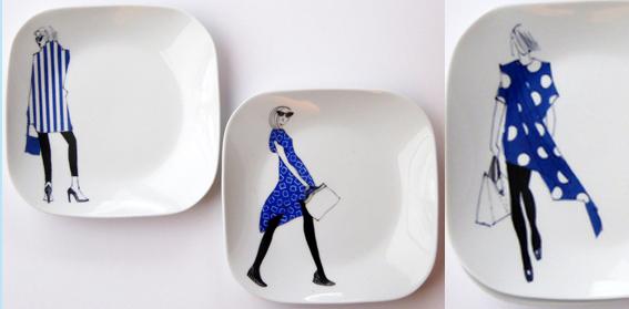 assiettes- bleu-noir-nanas copie